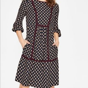 Boden Luna dress navy bud print